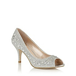 Lotus - Silver diamante 'Serenity' peep toe courts