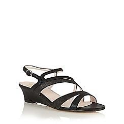 Lotus - Black shimmer 'Hazeline' wedge sandals