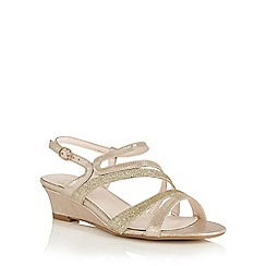 Lotus - Gold shimmer 'Hazeline' wedge sandals
