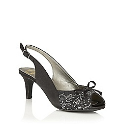 Lotus - Black satin 'Kornelia' peep toe courts