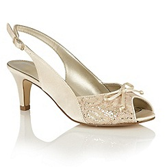 Lotus - Light gold satin 'Kornelia' peep toe courts
