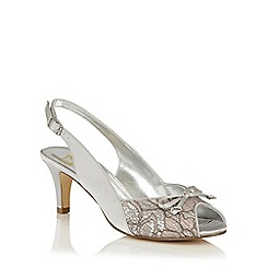 Lotus - Silver satin 'Kornelia' peep toe courts