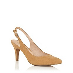 Lotus - Beige microfibre 'Nadia' sling back courts