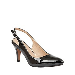 Lotus - Black shiny 'Nadia' sling back courts