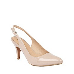 Lotus - Nude shiny 'Nadia' sling back courts