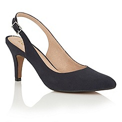 Lotus - Navy microfibre 'Nadia' sling back courts