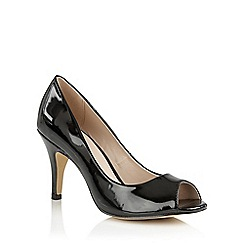 Lotus - Black shiny 'Prudence' peep toe courts
