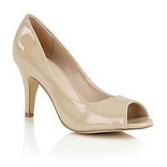 Lotus - Nude shiny 'Prudence' peep toe courts