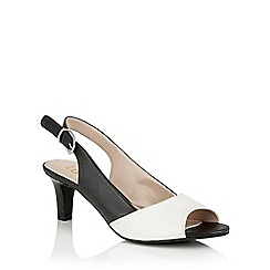 Lotus - Black white leather 'Micaela' open toe courts