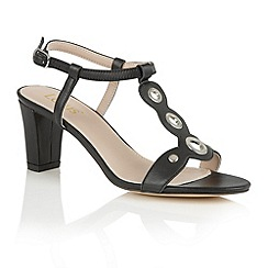 Lotus - Black matt 'Noa' open toe t-bar sandals