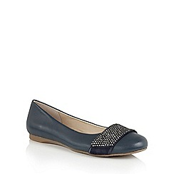 Lotus - Navy leather 'Lystra' ballets