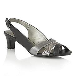 Lotus - Black metallic leather 'Valeria' open toe sandals