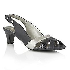 Lotus - Navy metallic leather 'Valeria' open toe sandals