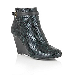 Lotus - Green 'Aiken' animal print shoe boots