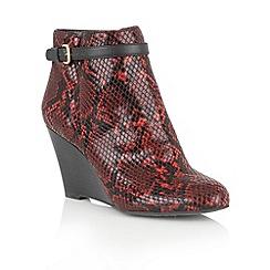 Lotus - Red 'Aiken' animal print shoe boots