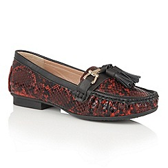 Lotus - Red 'Chalina' animal print loafers