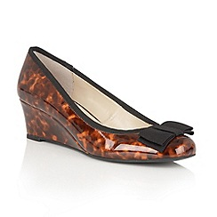 Lotus - Brown shiny tortoiseshell 'Rea' wedges