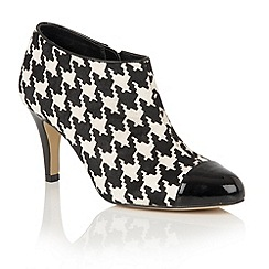Lotus - Black houndstoot print leather 'Hana' shoe boots
