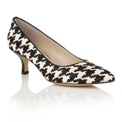 Lotus Black houndstooth print leather Ginny courts