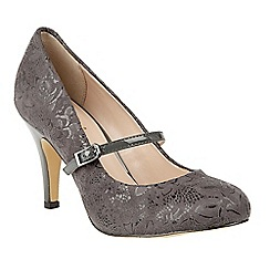 Lotus - Grey floral print 'Fuzina' high heel courts