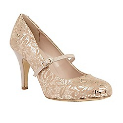 Lotus - Cream 'Fuzina' floral print mary jane courts