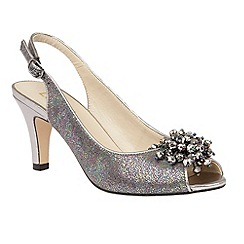 Lotus - Pewter multi 'Clematis' peep toe sling back courts