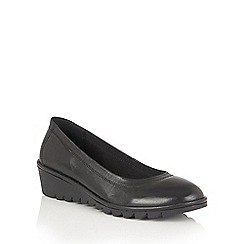 Lotus - Black leather 'Beech' casual wedges
