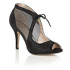 Lotus - Black 'Vanille' diamante peep toe courts
