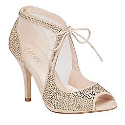 Lotus - Cream 'Vanille' diamante peep toe courts