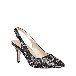 Lotus - Black 'Lowyer' pointed toe sling back courts