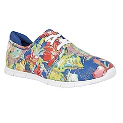 Lotus - Blue multi 'Meadow' flower canvas trainers