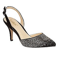 Lotus - Black 'Spinley' diamante sling back heels