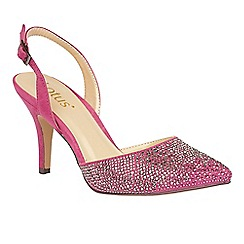 Lotus - Pink 'Spinley' diamante sling back heels