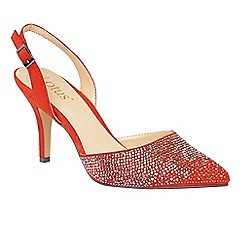 Lotus - Orange 'Spinley' diamante sling back heels