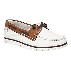 Lotus - White leather 'Silverio' boat shoes