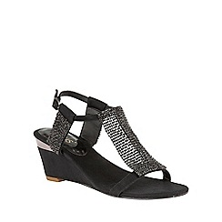 Lotus - Black chainmail 'Klaudia' wedge sandals