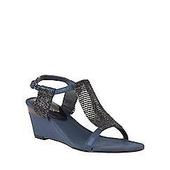 Lotus - Navy chainmail 'Klaudia' wedge sandals