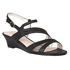 Lotus - Black 'Desponia' shimmer wedge sandals