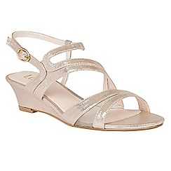 Lotus - Gold 'Desponia' shimmer wedge sandals