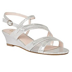 Lotus - Silver 'Desponia' shimmer wedge sandals