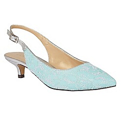 Lotus - Blue 'Kohar' lace sling back kitten heels