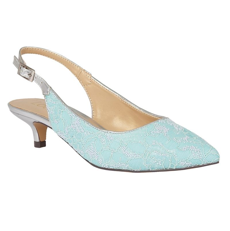 Lotus Blue Kohar lace sling back kitten heels