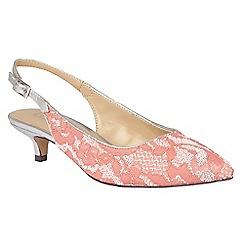 Lotus - Pink 'Kohar' lace sling back kitten heels