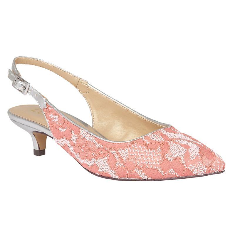 Lotus Pink Kohar lace sling back kitten heels