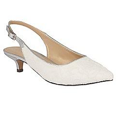 Lotus - White 'Kohar' lace sling back kitten heels