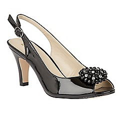 Lotus - Black shiny 'Elodie' sling back courts