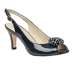 Lotus - Navy shiny 'Elodie' sling back court shoes