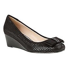 Lotus - Black 'Peak' mid heel wedge shoes