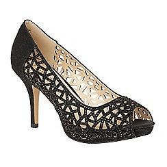 Lotus - Black diamante 'Flink' high heel court shoes