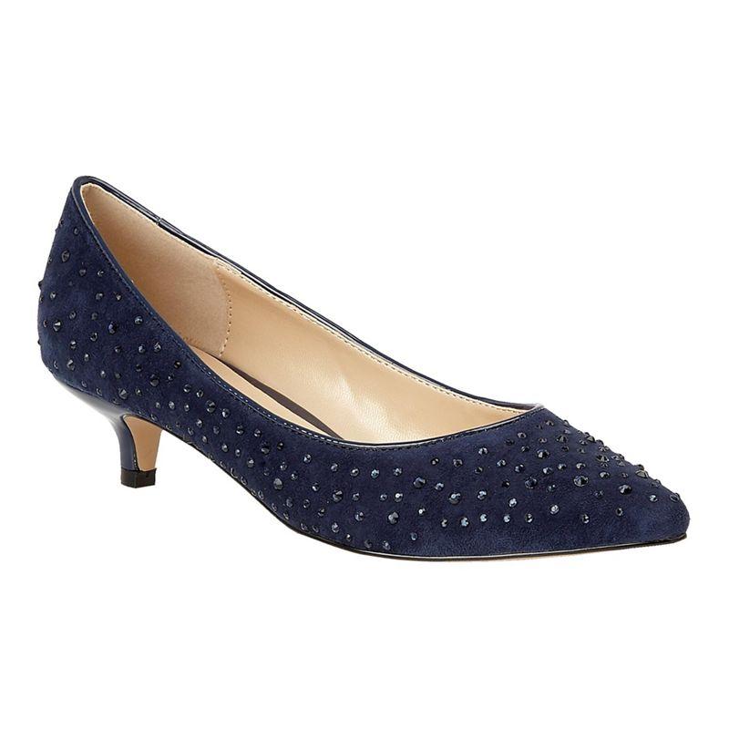 Lotus Blue Pinnacle mid heel kitten court shoes